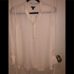Ann Taylor cream blouse with tie sleeves